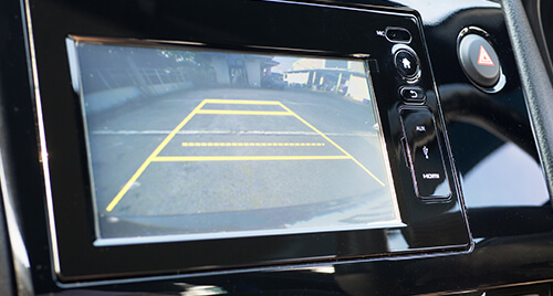 Mobile Tech: Backup camera display in the center console of a vehicle