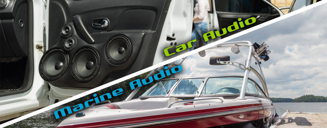 Collage photo split diagonally in half with the top half showing car audio systems and the bottom half showing a ski boat tied to a dock